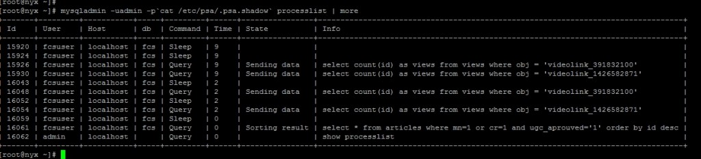 mysql process list