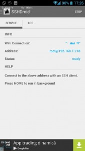 SSHdroid connected to a WLAN